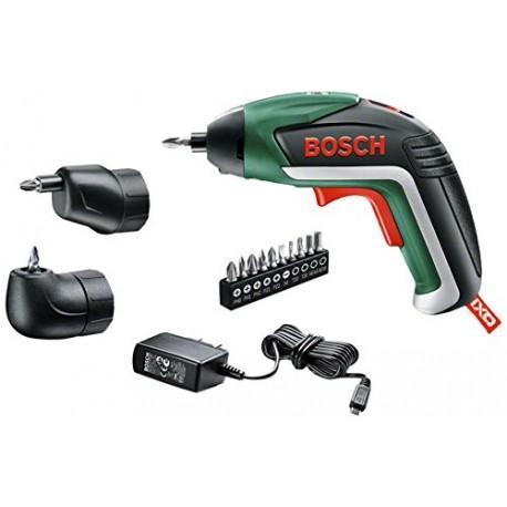 Bosch Visseuse sans fil IXO V Deluxe avec chargeur, 10 embouts de vissage, renvoi d'angle, et adaptateur excentré 06039A8002