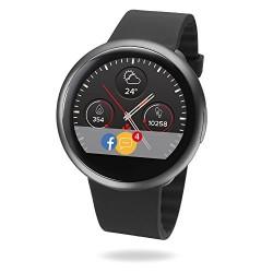 MyKronoz ZeRound2 Smartwatch avec écran couleur tactile, microphone et haut-parleur intégré – Noir / Noir