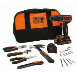 Black and Decker BDCDC18HTSA - Perceuse visseuse 18V 1,5Ah Li-Ion avec accessoires et outils à main