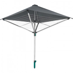 LEIFHEIT 82100 Séchoir parapluie LinoProtect 400, étendoir parapluie avec toit étanche, séchoir jardin inclus douille de sol