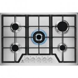 ELECTROLUX KGS7536SX - Table de cuisson gaz encastrable - 5 foyers - L 75 x P52cm - Inox - Grilles en fonte