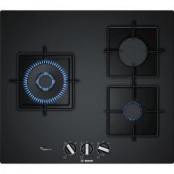 BOSCH PPC6A6B10 Plaque de cuisson gaz - 3 foyers - 8000 W - L 59 x P 52 cm - Revetement verre - Noir