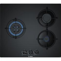 BOSCH PNC6B6B10 Plaque de cuisson gaz - 3 foyers - 7500 W - L 59 x P 52cm - Revetement verre - Coloris noir