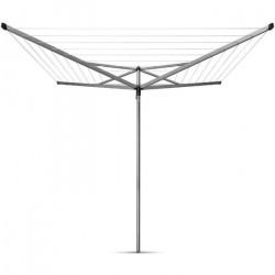 BRABANTIA - 310683 - Séchoir Essential - 50 metres – douille plastique – Ø 35 mm – 4 bras – Metallic Grey