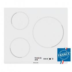 BRANDT BPI6315W Plaque de cuisson - Induction - 3 zones - 7200W - L58xP51cm - Revetement verre - Blanc