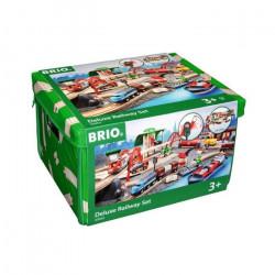 Brio World Circuit de Chemin de Fer Deluxe - Coffret 87 pieces - Circuit de train en bois - Ravensburger - Des 3 ans - 33052