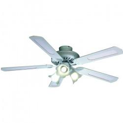 FARELEK - BALEARES Ø 132 cm - Ventilateur de plafond réversible, 5 pales blanches / cannées blanches + éclairage