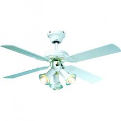 FARELEK - MALDIVES Ø 107 cm - Ventilateur de plafond réversible, 4 pales laquées blanc + éclairage 3 spots 60 watts E14 - 11