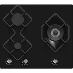 HUDSON HTG 3 BVN - Table de cuisson gaz - 3 foyers - L 60 cm - Revetement verre - Noir